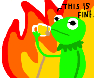 Kermit sipping tea in hell