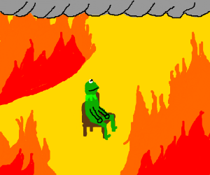 """Kermit replaces """"This is fine"""" dog."""