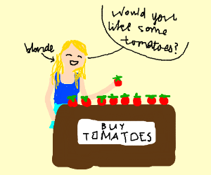 Blond lady selling blue tomatoes