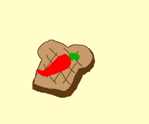 red chili pepper on a toast