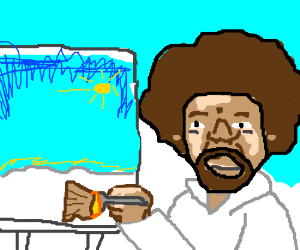 bob ross painting in heaven.