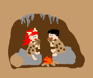 Cave man and woman eating