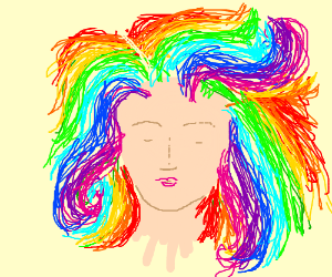 pretty eyeless girl w/horns and colorful hair