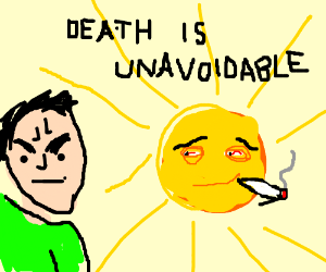 Angry person, high sun, ominous words