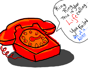 Life is calling on a retro red rotary phone