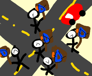 Drawception community protesting in streets
