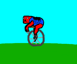 Spiderman (if he was a sloth) rides a unicycle