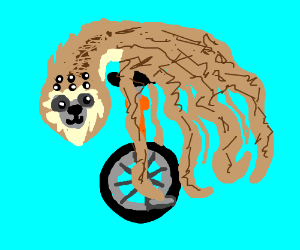 Spider-sloth rides a unicycle