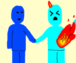 2 Blue People Holding Hands But Right Is Fire Drawing By Jifco