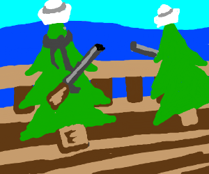Tree sailors with shotguns