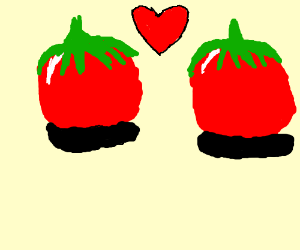 two tomatoes in love