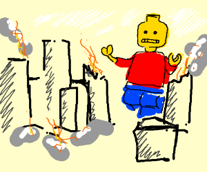 Evil Mecha Lego Man Destroys CITY