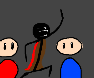 Superhero stickman with his non-stickman chums