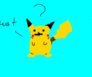 confused pikachu with mustache