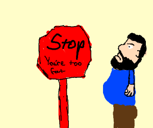 A stop sign insults a bearded man