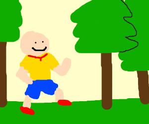 Caillou takes a stroll through the woods