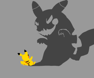 Pikachu's shadow is gonna eat him