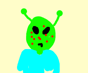 An alien with acne