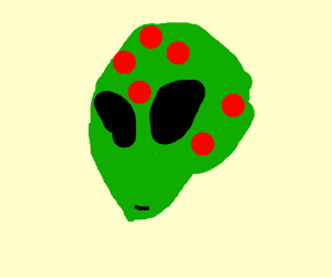 green alien with red splotches