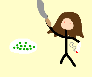 Stoned brunette slices peas with machete