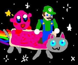 Luigi rides a cat with Kirby
