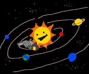 sun shooting the other helpless planets