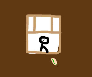 Sub sandwich falls out window