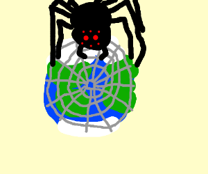 big spoder makes web on planet earth