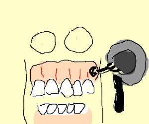Bleeding gums holds up a magneto tape