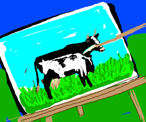 A cow in a cow in a painting