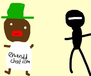 Dark skin man with green hat and Gitched Ninja