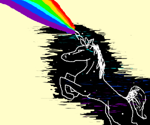 Black space unicorn shoots rainbow from horn.