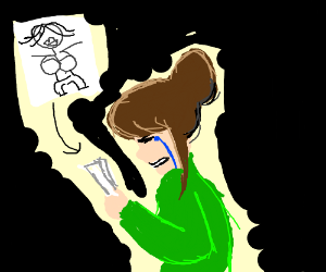 girl is crying cause her drawing es bad