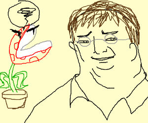 Piranha plant looks at gaben menacingly