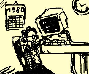 80's kid sitting at 80's computer