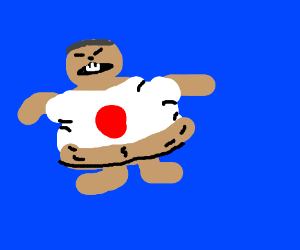 fat man wears the Japanese flag