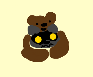 Bear hugs uncomfortable raccoon