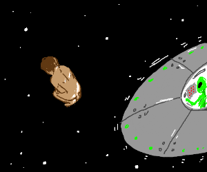 alien ship drops naked human in space