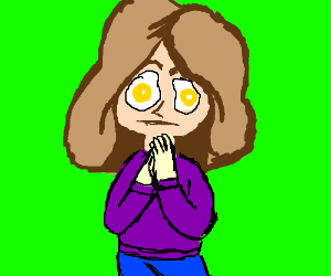 Girl with fried eggs for eyes