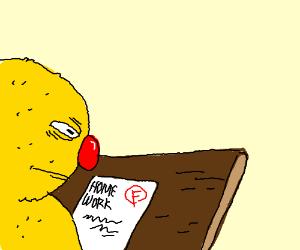 Elmo getting an F on his homework