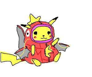 Pikachu cosplays Magikarp