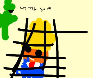 donald trump behind a net