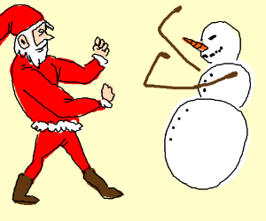 santa and snowman get into fisticuffs