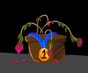 pot of dead flowers wins 1st prize