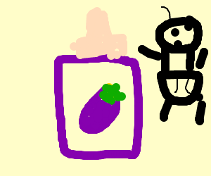 Purple feeding bottle with a eggplant picture