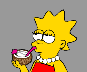 Lisa Simpson drinks from a coconut