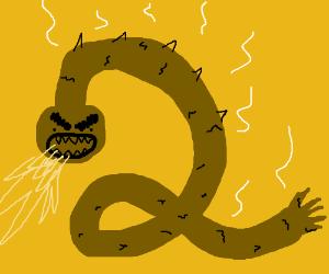 Long brown dragon makes the #2 shape
