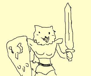 Pupper knight with large sword