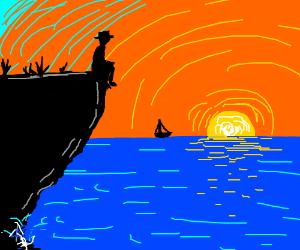 man on cliff, sunset over sea
