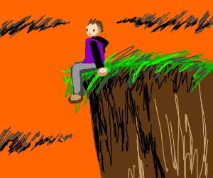 Man sits on the very edge of a cliff